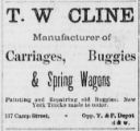 Manufacturer of Carriages, Buggies, & Spring Wagons. (Newspaper advertisement)